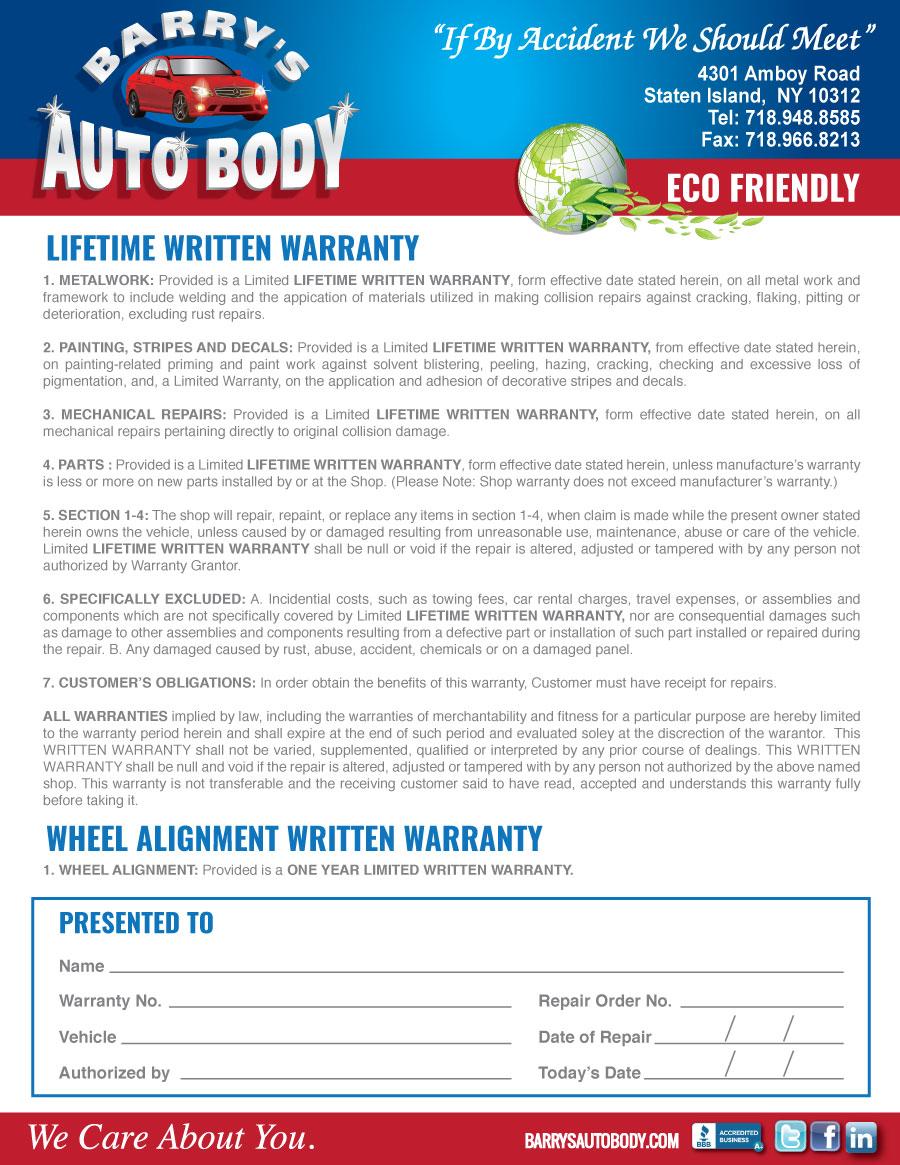 New Car Scratch Warranty