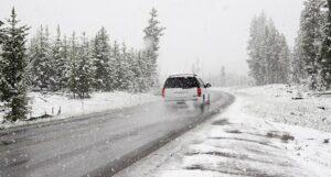 car snowy road